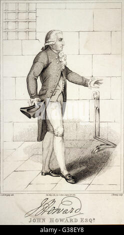 JOHN HOWARD  Prison reformer, depicted visiting a prison (note the chains)      Date: 1726 - 1790 - Stock Photo