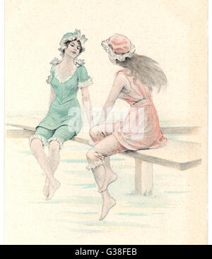 Two girls in bathing suits  sitting and chatting on the  jetty.       Date: circa 1905 - Stock Photo