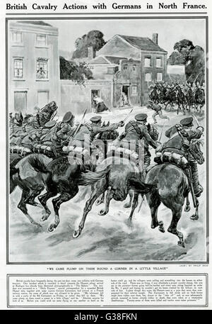 A cavalry fight in a French  village early in World War One. British Hussars rout  German Cuirassiers        Date: - Stock Photo