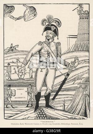 JOHN CHURCHILL 1ST DUKE OF MARLBOROUGH  An early 19th century French  satire of the English military  commander. - Stock Photo