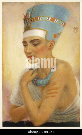 queen NEFERTITI wife of Pharaoh AKHENATEN  (Amenhotep IV) daughter of the vizier Ay and  mother of six      Date: - Stock Photo