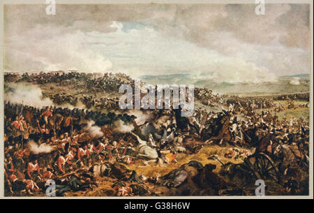 Battle of WATERLOO The Highlanders form a square  to withstand the cavalry  charge of the French  cuirassiers   - Stock Photo