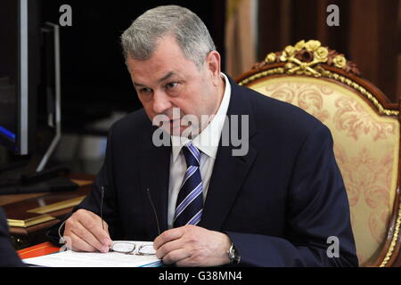 Moscow, Russia. 9th June, 2016. Kaluga Region governor Anatoly Artamonov during a meeting with the president of - Stock Photo