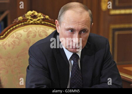Moscow, Russia. 9th June, 2016. Russia's president Vladimir Putin during a meeting with the governor Kaluga Region - Stock Photo