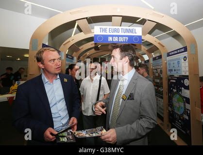 Manchester, UK. 9th June, 2016. Tim Farron MP and Cllr. John Leech at the Peoples History Museum, Manchester, UK,9th - Stock Photo