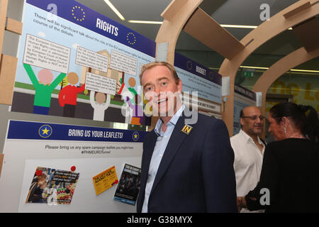 Manchester, UK. 9th June, 2016. Tim Farron MP in the  'IN / OUT Euro Tunnel'  at the Peoples History Museum, Manchester, - Stock Photo