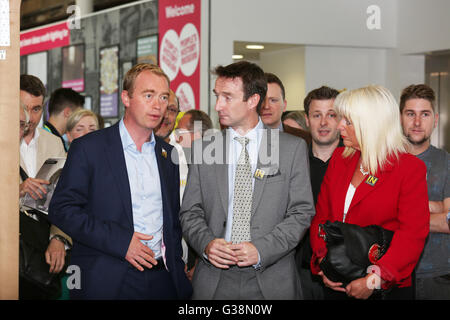 Manchester, UK. 9th June, 2016. Tim Farron MP with Cllr. John Leech at the Peoples History Museum, Manchester, UK,9th - Stock Photo