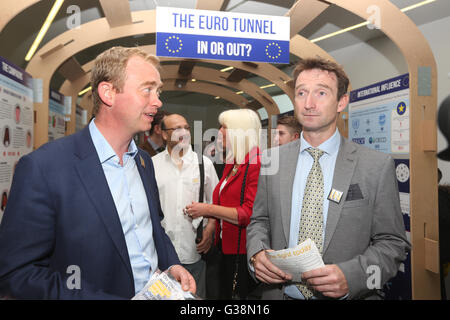 Manchester, UK. 9th June, 2016. Tim Farron MP with Cllr. John Leech. They toured the 'IN / OUT Euro Tunnel' exhibition - Stock Photo