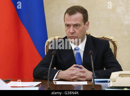 Moscow, Russia. 9th June, 2016. Russia's prime minister Dmitry Medvedev at a meeting of Russian government officials - Stock Photo