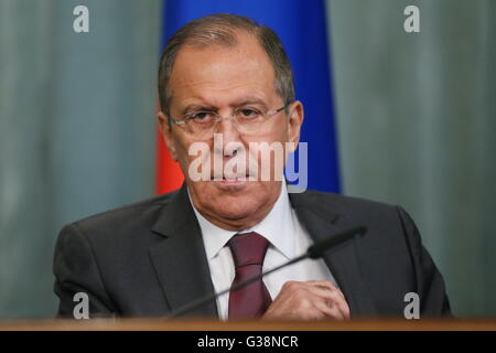Moscow, Russia. 9th June, 2016. Russia's minister of foreign affairs, Sergei Lavrov, at a news conference following - Stock Photo
