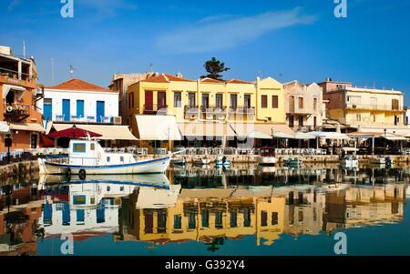 Rethymnon old Venetian harbour Crete. - Stock Photo
