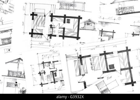 Architectural Drawing Background concept of home renovation with architectural drawings as