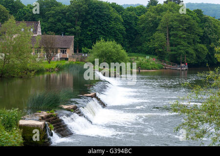 Bathampton Mill and weir on River Avon, Bath, Somerset, England, UK - Stock Photo