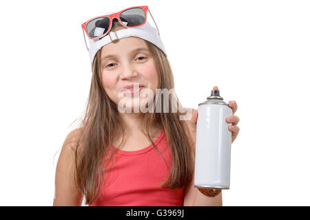 young girl with a spray can isolated on white background - Stock Photo