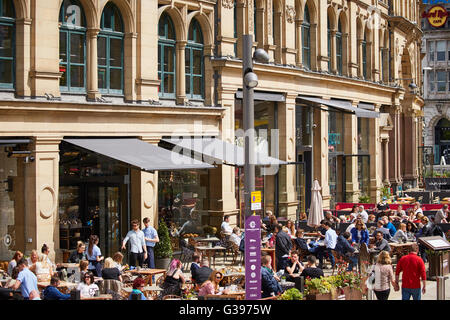 The Corn Exchange in Exchange  Square signs buildings tight Restaurant dining food eating eating drinking  out date - Stock Photo