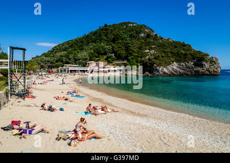 The Beach At The Seaside Village Of Paleokastritsa, Corfu Island, Greece - Stock Photo