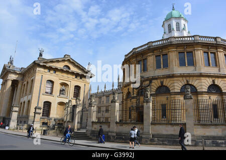 Sheldonian Theatre and The Carendon Building, Broad Street, Oxford, England - Stock Photo