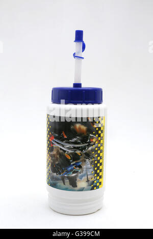 Plastic Flask With Straw - Stock Photo