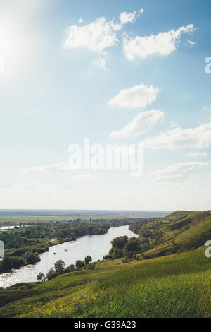 view from the high Bank on the river - Stock Photo