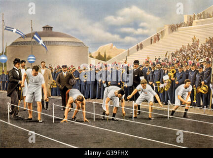 The start of the 100m won by  Burke, America (wearing red  shorts).        Date: 1896 - Stock Photo