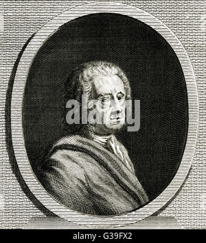 BERNARD LE BOVIER DE  FONTENELLE -  French writer and librettist       Date: 1657 - 1757 - Stock Photo
