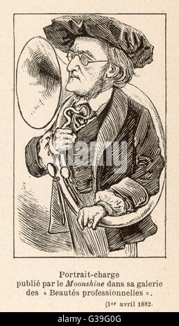 RICHARD WAGNER German composer with a large  hunting horn, which featured  prominently in his operas, but  which - Stock Photo