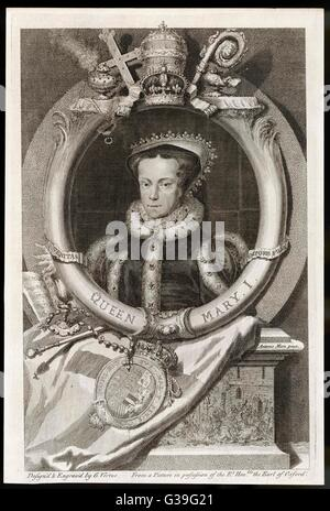 MARY TUDOR  Catholic Queen of England,  with the motto 'Truth is the  Daughter of Time'      Date: 1516 - 1558 - Stock Photo