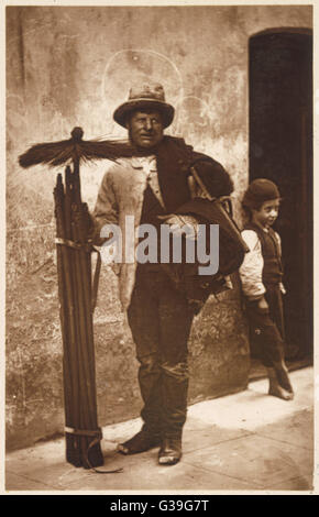 A chimney sweep and his  brushes.        Date: 1877 - Stock Photo