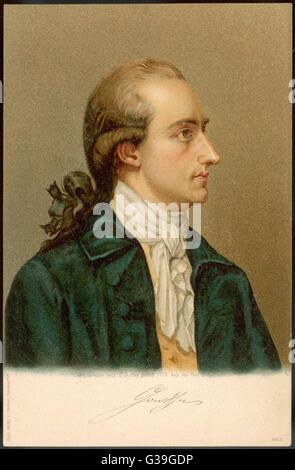 JOHANN WOLFGANG VON GOETHE  German writer and scientist        Date: 1749 - 1832 - Stock Photo