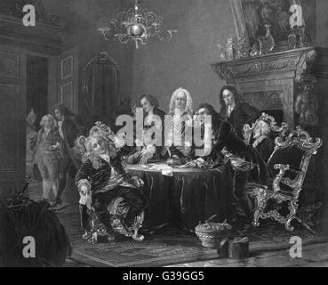 A gathering of doctors,  disagreeing over their  diagnoses        Date: 18th century - Stock Photo