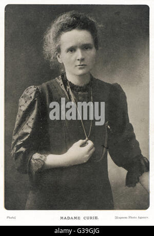 MARIE CURIE  Polish scientist.        Date: 1867-1934 - Stock Photo