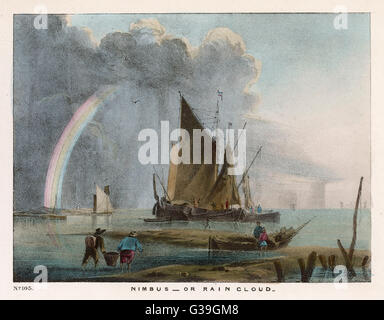 Nimbus - or rain cloud -  forming out at sea beyond the  fishing boats: 'Every cloud  has a silver lining.'     - Stock Photo