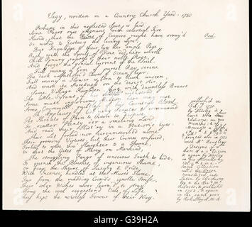 Part of the manuscript of Thomas Gray's poem, 'Elegy Written in a  Country Church Yard', inspired by a visit to - Stock Photo