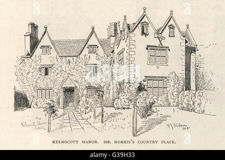 WILLIAM MORRIS  English writer's home, Kelmscott Manor, near  Lechlade, Oxfordshire      Date: 1834 - 1896 - Stock Photo
