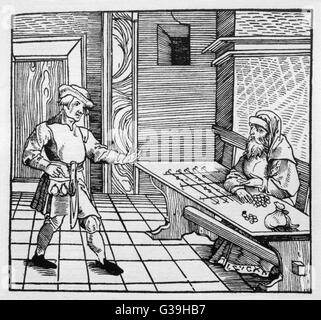 A Jewish money lender and a  farmer.        Date: 1531 - Stock Photo