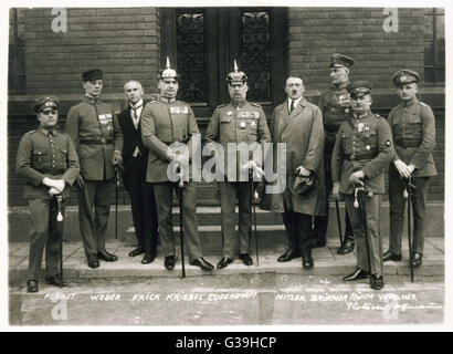 The Hitler Trial, Munich.  The accused in the Hitler  Trial (named on the  photograph).      Date: February 1924 - Stock Photo