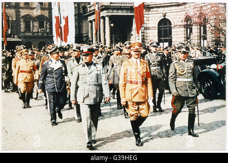 ADOLF HITLER  With Benito Mussolini in  Munich.       Date: 1938 - Stock Photo