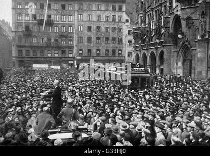 A revolutionary gathering in  Munich following the Hitler  Putsch or Beer-Hall Putsch.          Date: November 1923 - Stock Photo