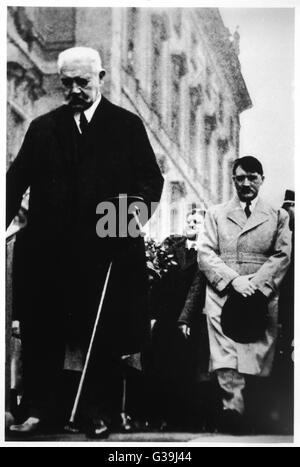 ADOLF HITLER With von Hindenburg         Date: 1933 - Stock Photo