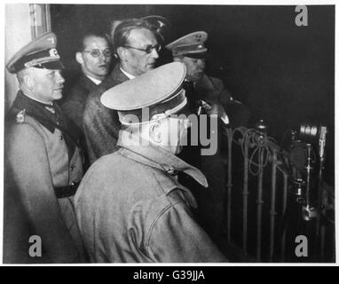 ADOLF HITLER  Hitler (right) with Arthur  Seyss-Inquart (left, with  glasses) at the time of the  Anschluss - Stock Photo