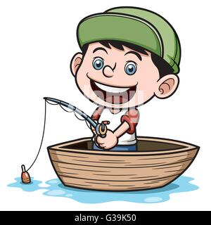 Vector illustration of Boy fishing in a boat - Stock Photo