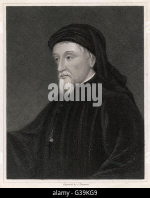 GEOFFREY CHAUCER  English poet, writer of The Canterbury Tales       Date: 1340 - 1400 - Stock Photo