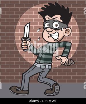 Vector illustration of Cartoon Thief - Stock Photo