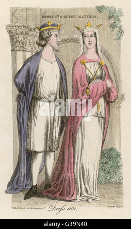 King Henry I (1068 - 1135) and Queen Matilda, his first wife, the daughter of King Malcolm III of Scotland. She - Stock Photo