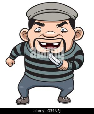 Vector illustration of Cartoon thief - Stock Photo