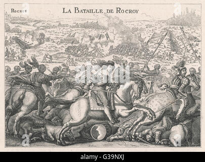 BATTLE OF ROCROI Conde defeats the Spanish with  heavy casualties, an event  which marks the decline of  Spanish - Stock Photo