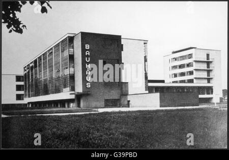 The Bauhaus building in  Dessau, manufacturing city in  eastern Germany. The building  was built in 1925 - 26 by - Stock Photo