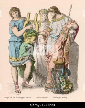 An Olympic hero with the King  and the Priest of Dionysos.        Date: BC - Stock Photo