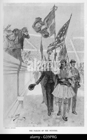 Parade of the  winning athletes         Date: 1896 - Stock Photo
