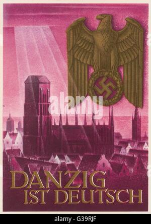 Nazi postcard claiming that  Danzig belongs to Germany and  not to Poland.       Date: 1939 - Stock Photo